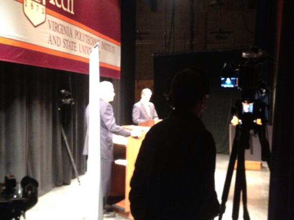 DEBATE IS UNDERWAY. Terry McAuliffe and Ken Cuccinelli are into the first question. #vagovdebate http://twitter.com/nadine_maeser/status/393514199424331776/photo/1