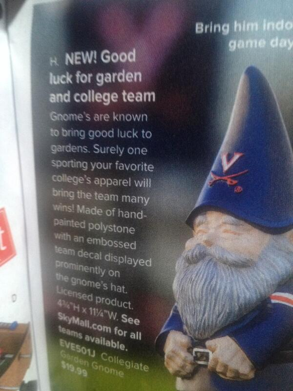 """""""Gnomes r known to bring good luck"""" and make u the creepiest dude in ur neighborhood. #treyonplane http://t.co/eIJy3b557t"""