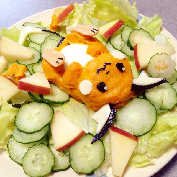 昼ごはんは!ライチュウのかぼちゃサラダ〜♪