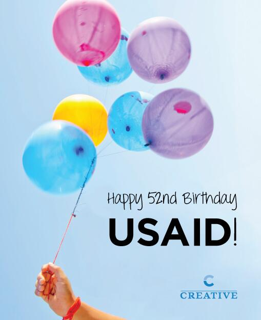 Happy 52nd birthday @USAID from all of us at @1977Creative! #USAIDprogress #hbdUSAID http://t.co/r0sPznX4qb