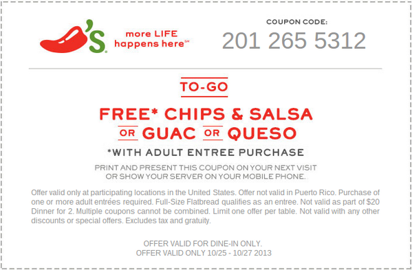 image relating to Chilis Printable Coupon named Chilis Discount coupons (@CouponsChilis) Twitter