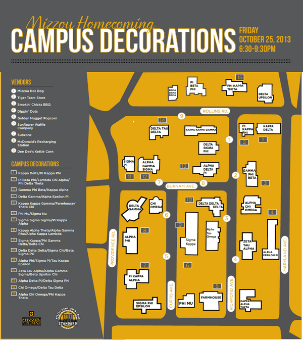 Mizzou Homecoming On Twitter Campus Decorations Starts At 6 30