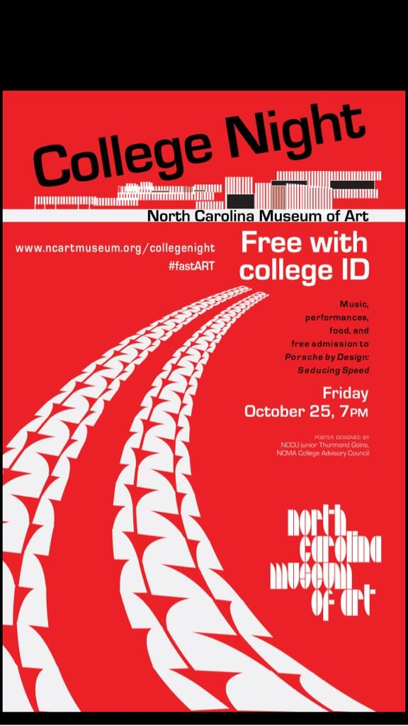 College Night at the North Carolina Museum of Art! FREE ENTRY w/ college ID! #fastART #ECU http://t.co/ayoSSgECFC