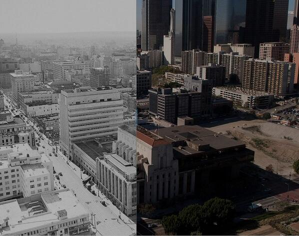 Cool interactive: Before (1951)-after (2009) views of downtown L.A. from above. http://t.co/Eo9LaSvtH7 http://t.co/EHXCc9mkuV