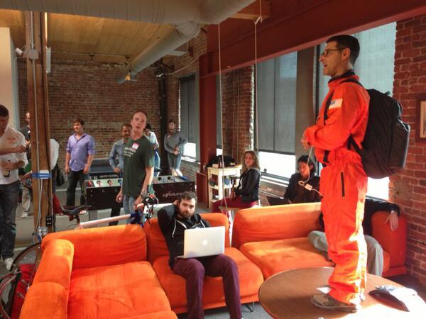Ringleader @mylerdude herding the kool katz at #newtechcrawl at @Foundersuite and @grio_sf http://t.co/72BOae7Yht