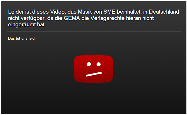 Youtube screenshot: Nena not available in German