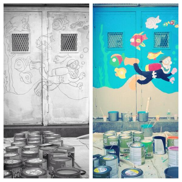A #beforeandafter photo from the #DayOfAction at P.S. 197 w/ @ClintonFdn, @ChelseaClinton & @NYCService. http://t.co/YFXE24TA0u