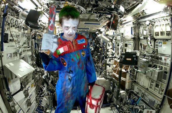 @Cmdr_Hadfield Famous zombie Astronaut Giacomo Bruni does maintenance on ISS! My son's entry 4 your Halloween contest http://twitter.com/AstonPat/status/394515453860540416/photo/1