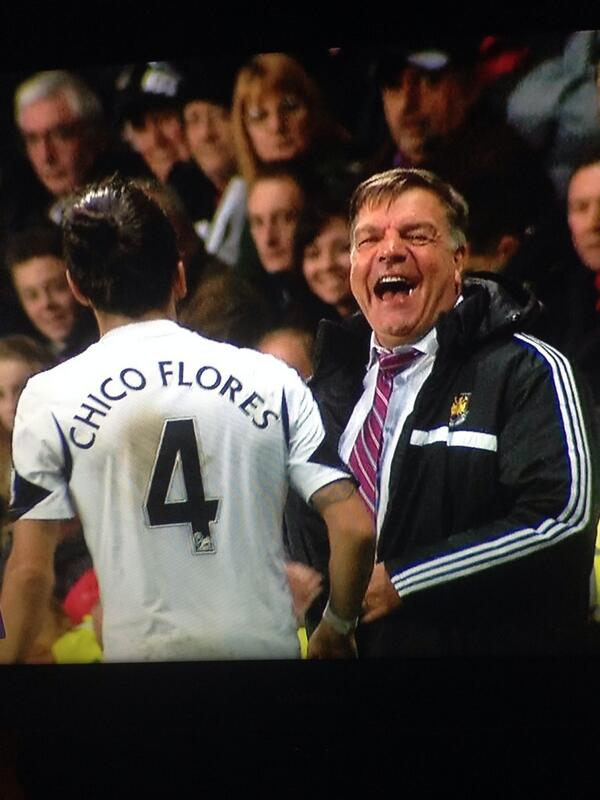 Ha! West Ham boss Sam Allardyce has a good chuckle at Swanseas Chico Flores for play acting [Video & GIF]