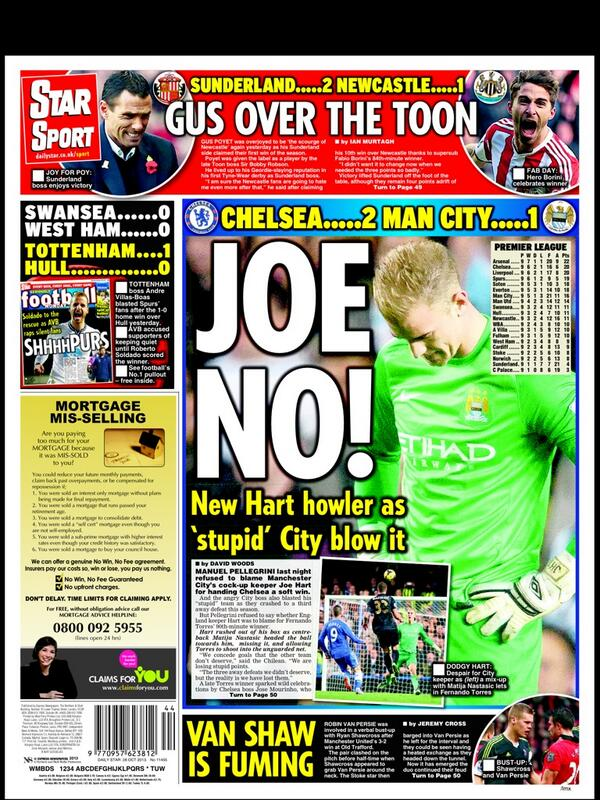Hart breaking! Mondays papers go on the attack on under fire Man City keeper Joe Hart [Pictures]