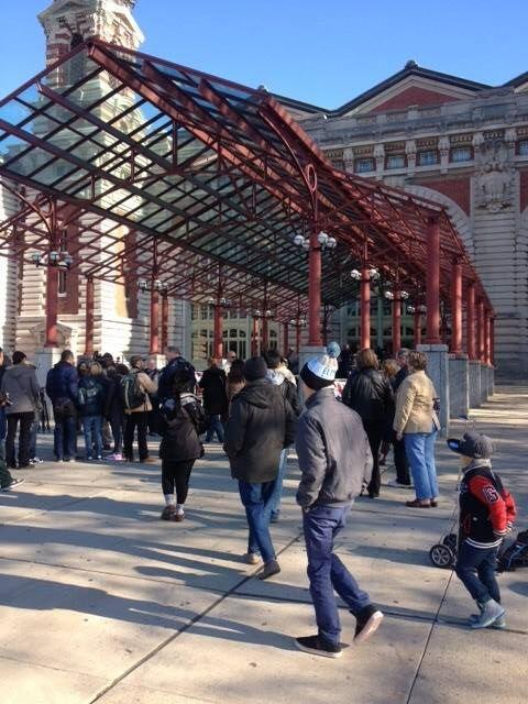 Here are the first visitors as they arrived this morning at the newly reopened #Ellis Island Museum! #sandy1year http://twitter.com/ellisisland/status/394845282053013504/photo/1