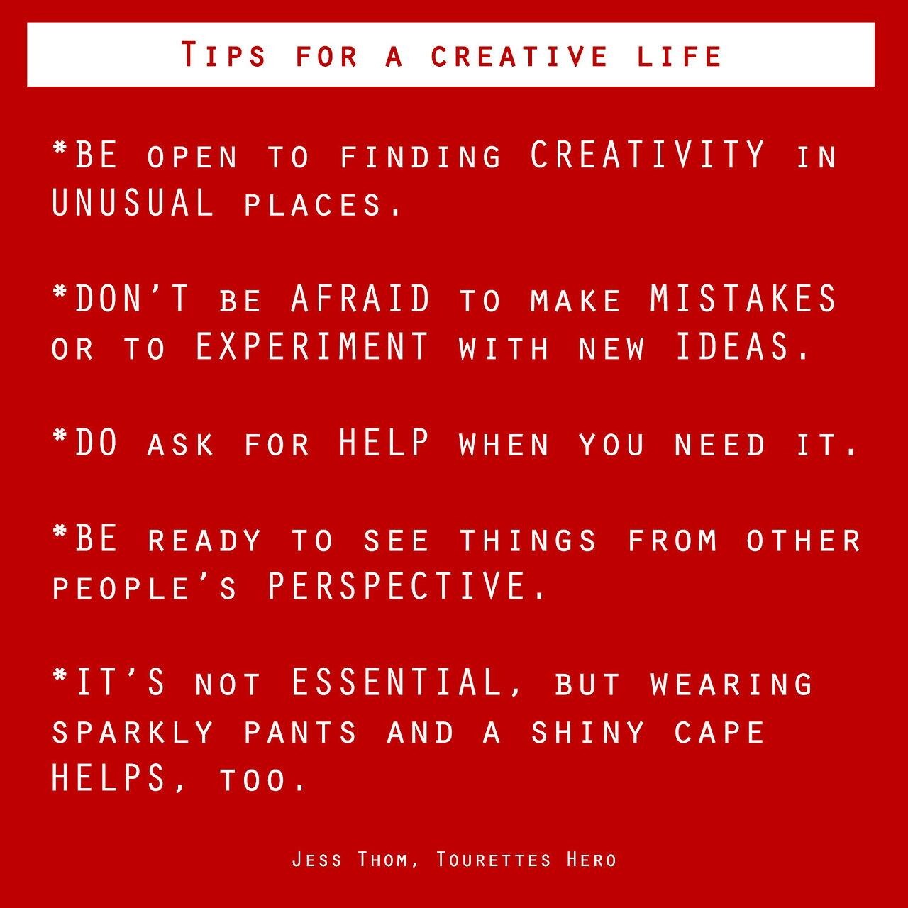 Twitter / TEDx: Tips for a creative life. Love ...