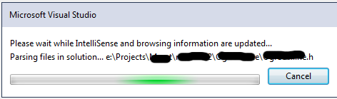 Please wait while IntelliSense and browsing information are updated