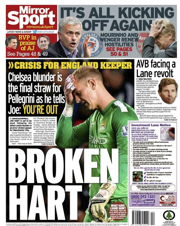 Axed! Manuel Pellegrini ready to drop Joe Hart following string of errors at Man City [Mirror & Star]