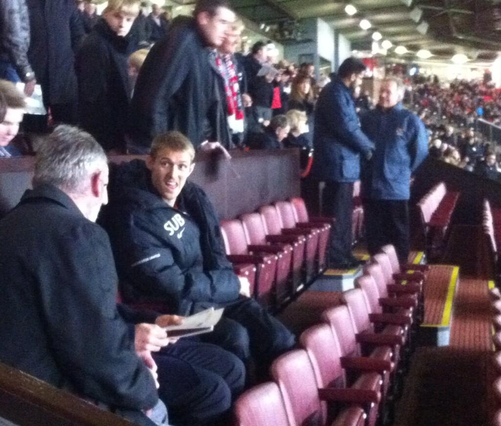 Darren Fletcher takes his seat at Old Trafford for United v Norwich