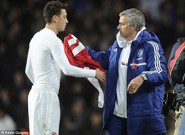 Mesut Ozil gave Jose Mourinho his shirt after Chelsea knocked Arsenal out the cup [Pictures]