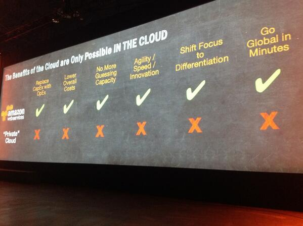RT @latentview Private cloud doesn't offer key benefits of moving to the Cloud! #aws #reinvent http://t.co/7A8uPcIvXY < #BewareTheFalseCloud