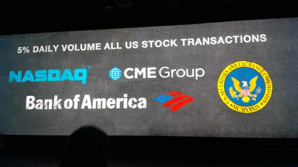Impressive 250k people work stock markets, .@tradeworx does 5% of volume with 5 FTEs. Impressive #reinvent http://t.co/jaRscCz3gi