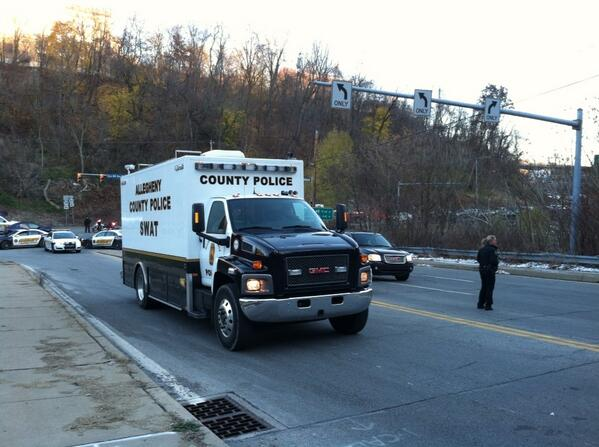 At Crane and Saw Mill Run Allegheny County SWAT truck has just arrived. http://t.co/aWh2TWEb10