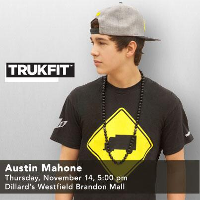 Hey #Mahomies! Come see your fav. #EMA winner, @AustinMahone this Thurs. @ Dillard's Westfield Brandon mall! #TRUKFIT http://t.co/Tg6l3iZyqZ