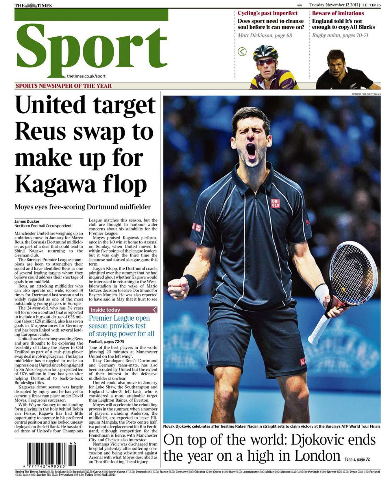 Manchester United consider swapping Shinji Kagawa for Borussia Dortmunds Marco Reus [The Times]