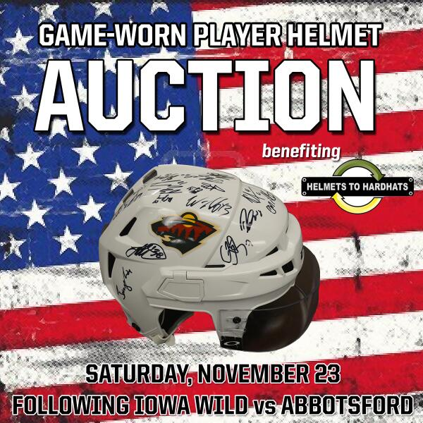 As we celebrate Veterans Day, mark the calendar... we're auctioning #IAWild helmets for @H2Hjobfairs on November 23! <br>http://pic.twitter.com/DTk3aHNJld