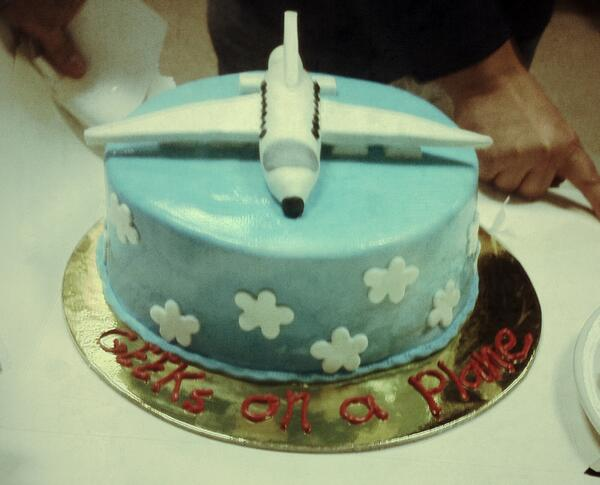 Geeks In A Plane On A Cake