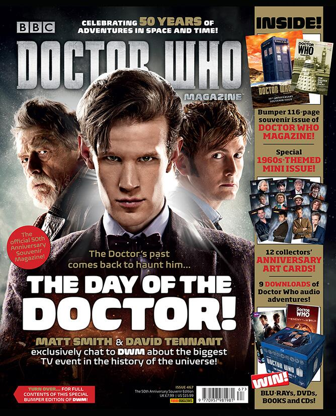 David Tennant, Matt Smith and John Hurt on the cover of Doctor Who Magazine