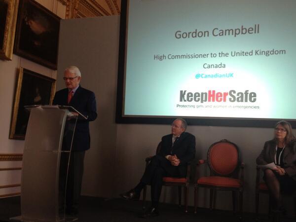 Canada supports innovative ways to protect women in emergencies #keephersafe @CanadaUK Gordon Campbell http://twitter.com/SaleyhaAhsan/status/400593698041257984/photo/1