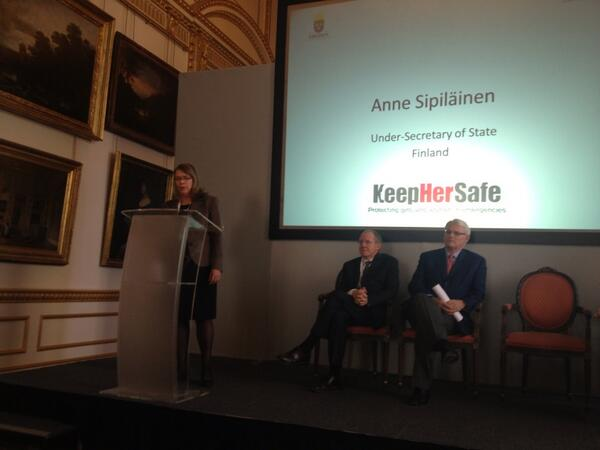 @DFID #keephersafe SoS Finland Anne Sipilainen reiterates protection from violence is human right http://twitter.com/SaleyhaAhsan/status/400594459563278337/photo/1
