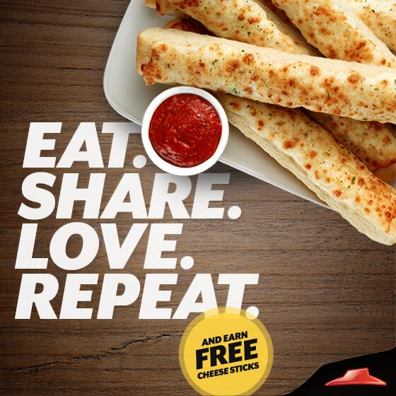 FREE Pizza Hut Cheese Sticks with any Online Order - Here's a yummy offer from Pizza Hut just for you! Sign up for the Hut Lovers email program [it's free] and they will send you a coupon via email for a FREE order of Chees Sticks with your next online order.