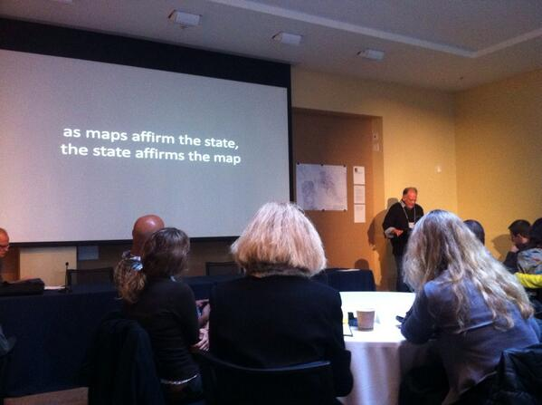 "Performing shaping statehood: ""as maps affirm the state, the state affirms the map"" - Denis Wood #GloUH http://t.co/Qe2Z0YlmIP"