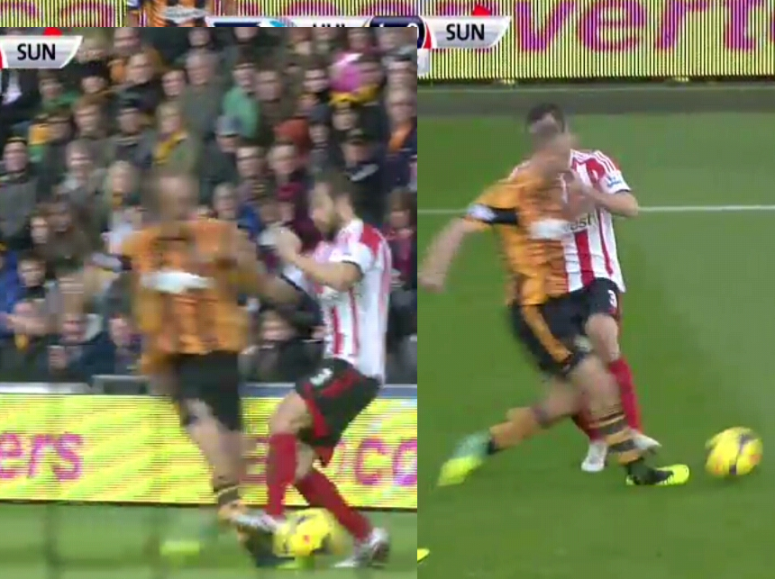 Andrea Dossenas shocking tackle on Hulls David Meyler, Sunderland down to 9 men!