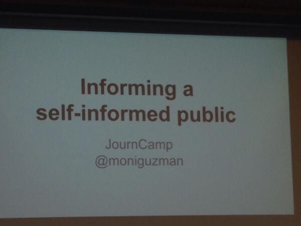 First #journcamp session. Here we go!! @moniguzman talks! http://t.co/OaKtM6l311