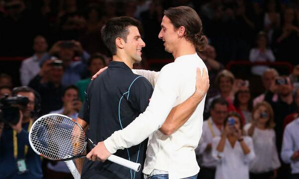 Zlatan Ibrahimovic plays tennis with Novak Djokovic at the Paris Masters [video]