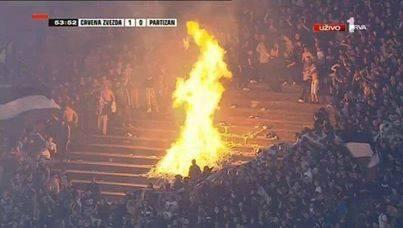 Bonfire night in the stadium as fires burned during Red Star Belgrade 1   Partizan Belgrade 0 [Video & Pictures]