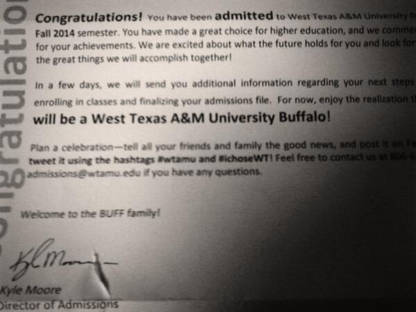 I've been #accepted into West Texas A&M University ! :) #wtamu http://t.co/C0UxVlsEys
