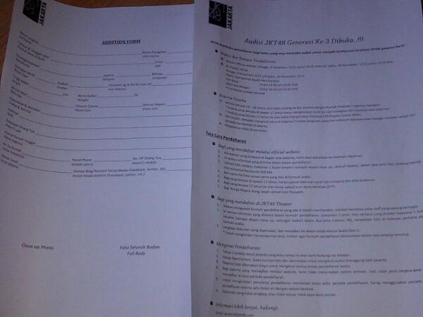 Harukafamily On Twitter Contoh Formulir Pendaftaran Gen 3 Jkt48