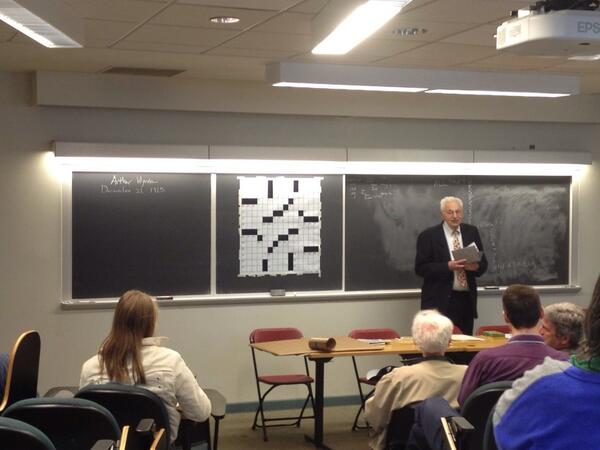 Ed Stein '60 giving his 17th WESeminar and celebrating the 100th anniversary of the crossword puzzle. #hcfw2013 http://t.co/ke03xZZ2u7