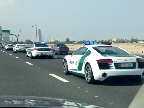 U201c@McCons: Dubai Police Convey Most Expensive Car Fleet Nissan GTR, Ferrari  599, Audi R8, MB Brabus G Wagon And Lambo Pic.twitter.com/eAWsrkycwTu201d