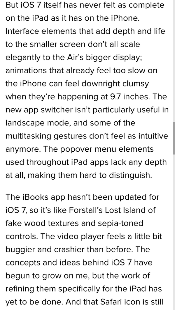 @hcmarks RE: @verge iPad Air review: Can you imagine this level of scrutiny applied to Android? Or Windows? http://t.co/vH4g6NfC6W