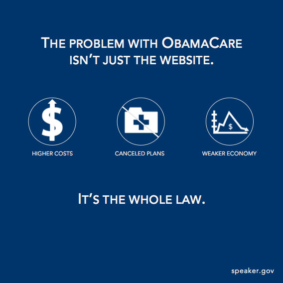 ReTweet if you agree --> The problem with #ObamaCare isn't just the website. It's the whole law. http://t.co/10PwygV4To