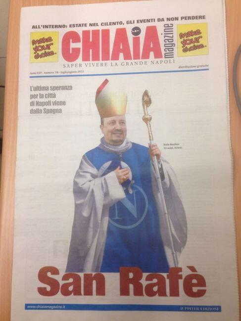 Napolis Rafa Benitez is turned into a saint on the front page of an Italys Chiaia magazine