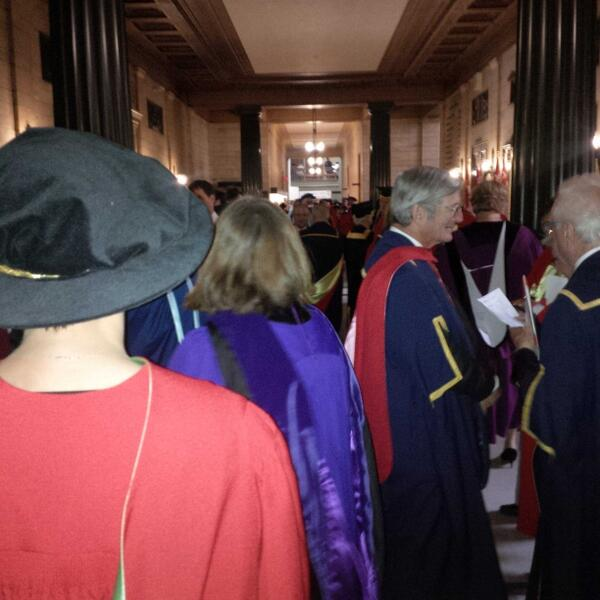 Institutional procession lines up for McGill Principal Fortier's installation. Her old boss Bill Leggett is here too. http://t.co/9zr27dfeL4
