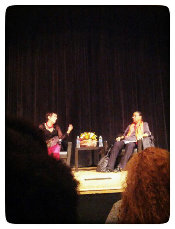 These women rock. Eve Ensler and @bellhooks at @TheNewSchool discussing feminism, body and race. #bellhooksTNS http://t.co/8rRlFoEJiY
