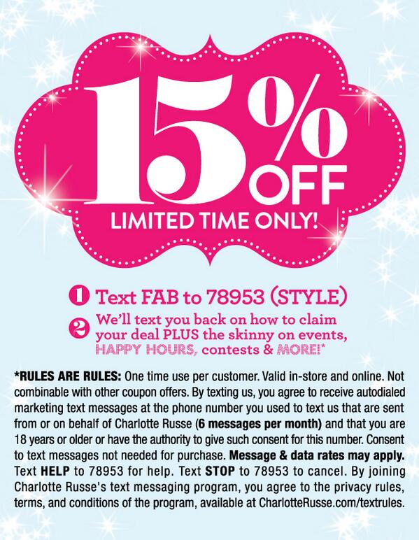 charlotte russe in store coupon
