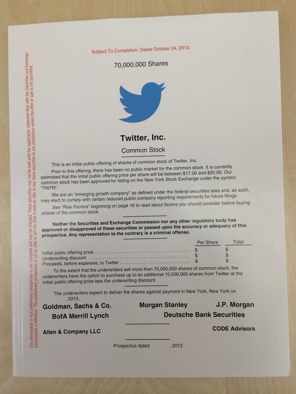 A very special gift. The actual @twitter prospectus, hard copy. #TwitterIPO #SupportTheFlock http://t.co/foxhi3lFyV