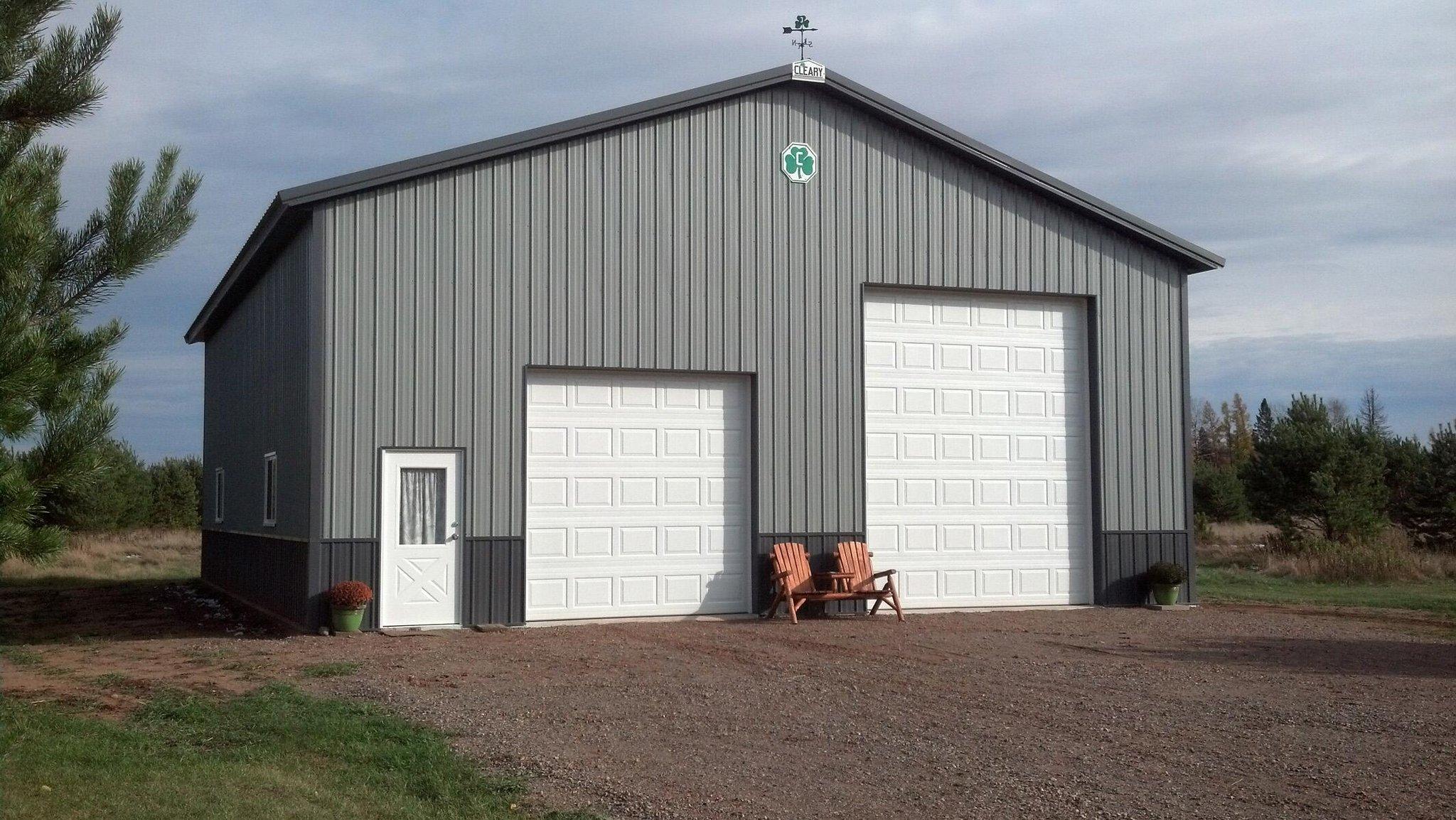 Black And White Pole Barn Garage