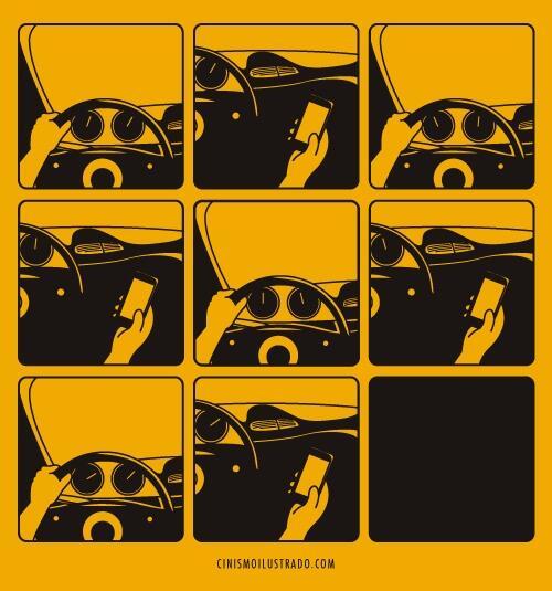 SMS ou conduire ... il faut choisir. Une illustration de @sallesino via  @interieurgeek http://t.co/LwwVxzlXim #regardelaroute