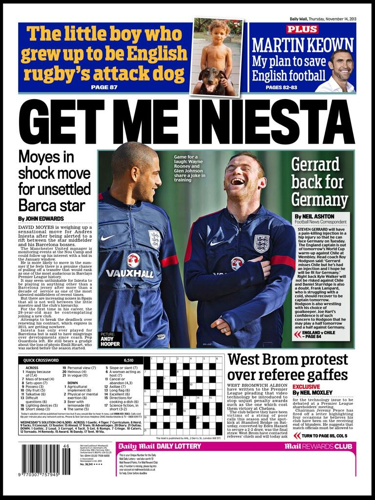 Manchester United boss David Moyes moves for Barcelona superstar Andres Iniesta [Daily Mail]